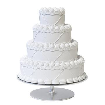 Wedding white cake isolated on white background 3d rendering