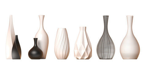 Ceramic vase collection Vol. 1 isolated on white background, 3d rendering