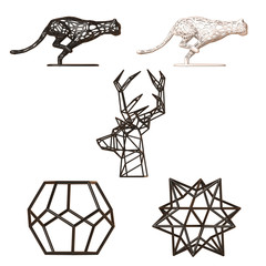 Frame decor figures, geometric and animal shape decoration set, minimalistic sculptures collection, 3d rendering
