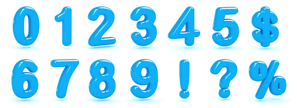 glossy blue number 3d render bubble font