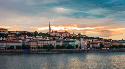 Sunset on the Buda side of Budapest, castle and river