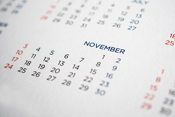 November calendar page with months and dates