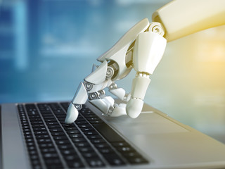 Robot hand typing on the laptop keyboard, 3d rendering