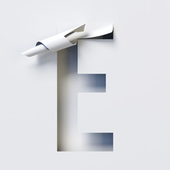 Cut out curled paper font 3d rendering letter E