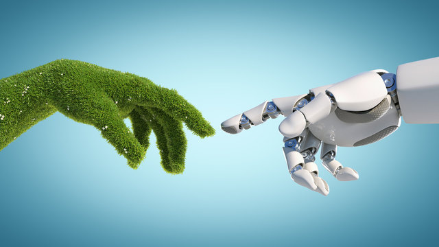 Nature and technology abstract concept, robot hand and natural hand covered with grass reaching to each other, tech and nature union, cooperation, 3d rendering