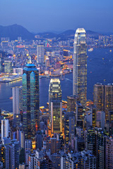 Photo sur Aluminium Hong-Kong Hong Kong at Twilight Vertical
