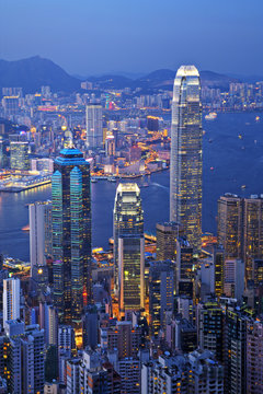 Hong Kong at Twilight Vertical
