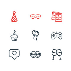 Vector illustration of 9 celebration icons line style. Editable set of polaroid pics, game controller, masquerade and other icon elements.