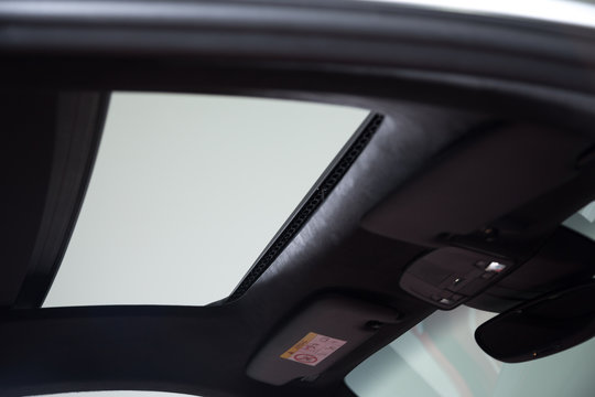 View of open car sun roof
