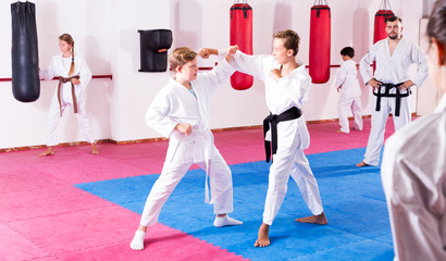 Children working in pair mastering new karate moves