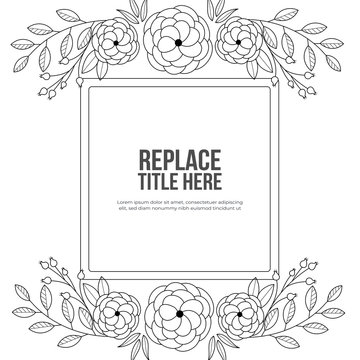Flowers frame coloring book for adult. doodle style.vector illustration. handdrawn.