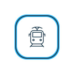Vector illustration of suburban train icon line. Beautiful transport element also can be used as tram icon element.