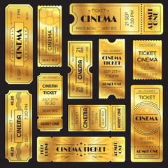Realistic golden show ticket. Old premium cinema entrance tickets. Gold admission to movie theater or amusement shows vector set