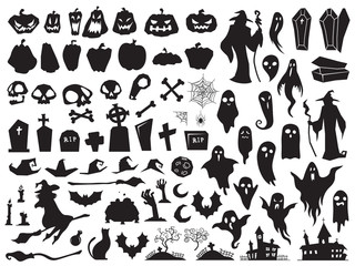 Halloween silhouettes. Spooky evil witch, creepy grave coffin and wizard silhouette. Pumpkin, spider and ghost vector illustration set