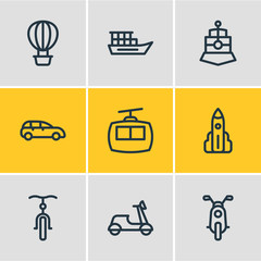 Vector illustration of 9 transit icons line style. Editable set of cabin, motorcycle, vessel and other icon elements.