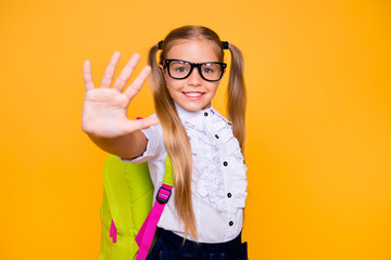 Give me high-five! Join together friend friendship connection bump palm fist concept. Close up photo portrait of excited funny nice pretty cute toothy girl isolated bright background