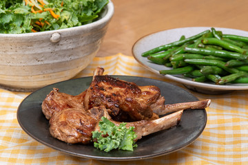 Pan Seared Lamb chops plate with french beans and salad