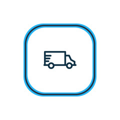 Vector illustration of truck icon line. Beautiful transit element also can be used as van icon element.