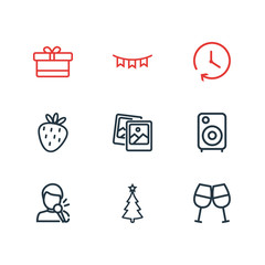 Vector illustration of 9 celebrate icons line style. Editable set of cheer, gift box, strawberry and other icon elements.
