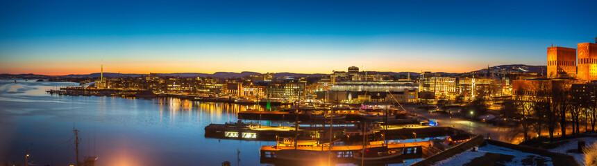 Oslo city skyline panorama during twilight Norway