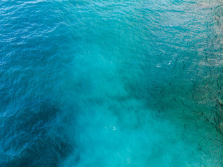 Deep Blue and green sea surface, top arial view. Seacolor mixing consept