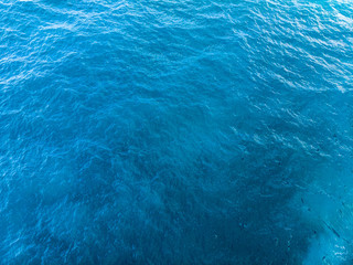 Deep Blue and green sea surface, top arial view