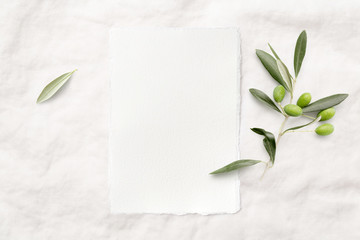feminine minimalist styled wedding stationery  mockup with a blank invitation card (portrait format) and a fresh olive twig on a white soft linen background, flat lay / top view