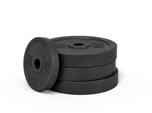 3d rendering of a stack made of several heavy black barbell weights on a white background.