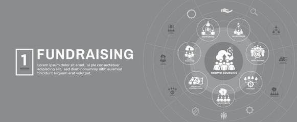 People Working Together to Fund Different Online Ideas w Money - Icon Set Web Header banner