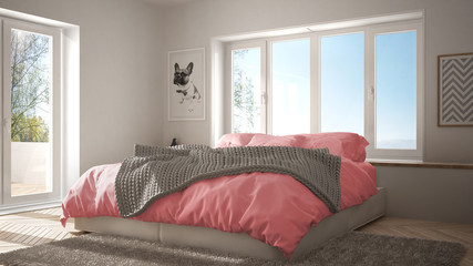 Scandinavian white and pink minimalist bedroom with panoramic window, fur carpet and herringbone parquet, modern pastel architecture interior design
