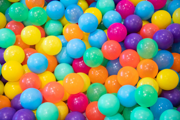 colorful plastic balls for kid activity background.