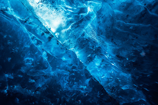 Abstract background of ice texture from ice cave in winter iceland