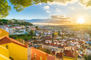 Panoramic view of Lisbon at sunset,  Portugal