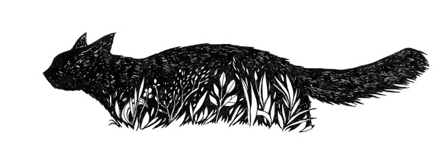 Black Cat in a grass. Graphic feline illustration. Hand drawn ink work. Animalistic design. Can be used as logo, background, prints, desktop wallpaper, etc.