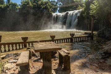 Waterfall near Castle in Paronella Park in Queensland, Australia