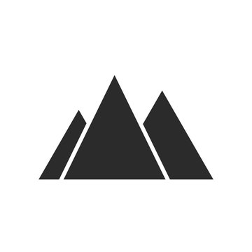 Three mountains icon isolated on white background. Vector illustration. Climbing icon.