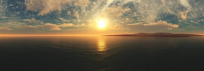 Beautiful sea sunset. Panorama of the oceanic sunrise. The sun is above the water.