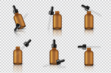 Mock up Realistic Transparent Amber Dropper or Pipette Bottle for Essential Oil Or Skincare Serum Background Illustration