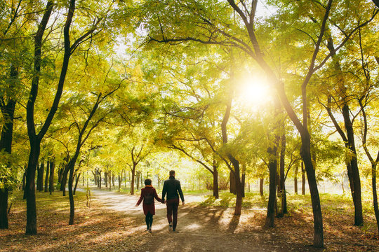 Back rear view of young couple in love woman with backpack, man in casual warm clothes walking by hands on road in autumn city park outdoors in sunny day. Love relationship family lifestyle concept.
