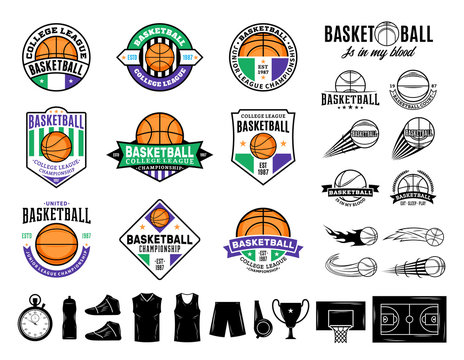 Set of vector basketball logo and  icons