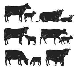 Vector cow and calf black silhouettes