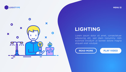 Lighting concept: man starting to use light bulb instead of candle. Thin line icons. Vector illustration, web page template.
