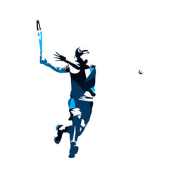 Tennis player, abstract blue isolated vector silhouette. Forehand