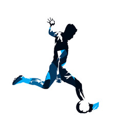 Soccer player kicking ball, abstract blue isolated vector silhouette. Footballer, side view. European football