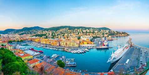 Canvas Prints Nice Aerial view of Port of Nice, France