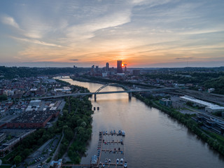 Sunset over Monongahela River and Downtown Pittsburgh