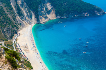 Aerial view of Myrtos beach in Kefalonia ionian island in Greece. One of the most famous beaches in the world with turquoise crystal clear sea waters
