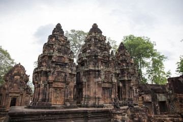 Ancient temple Banteay Srei view, Angkor Wat, Cambodia. Stone carved decor on hindu temple. Cambodian place of interest.