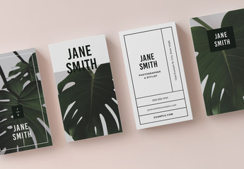 Business Card Layout with Leaf Photo