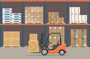 Orange Forklift truck in warehouse hangar interior. Warehouse Equipment, cargo delivery, storage service. Vector illustration.
